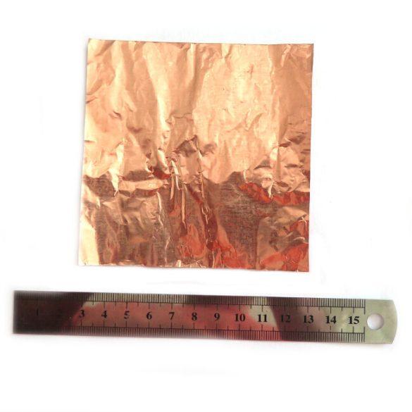 Vörösréz vékony lemezszalag, 0.01 x 100 x 100 mm