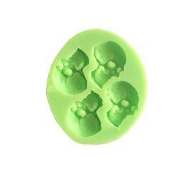 Silicone Fondant Mould, 4 Skulls