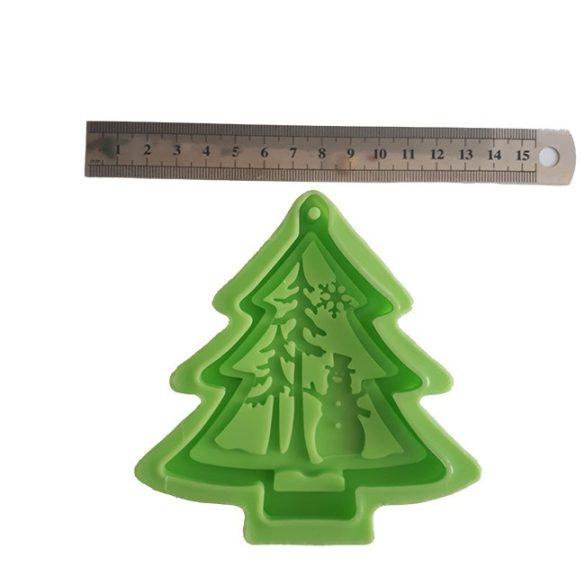 Karácsonyi dísz - Fenyőfa hóemberrel szilikon forma