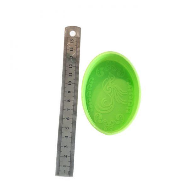 Szilikon szappanöntő forma - ovális - mintázott