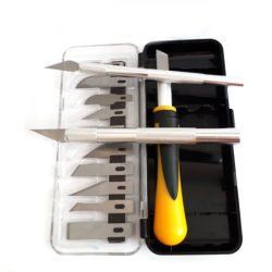 dekor kés szett, 13 db pengével, 3 különböző nyéllel
